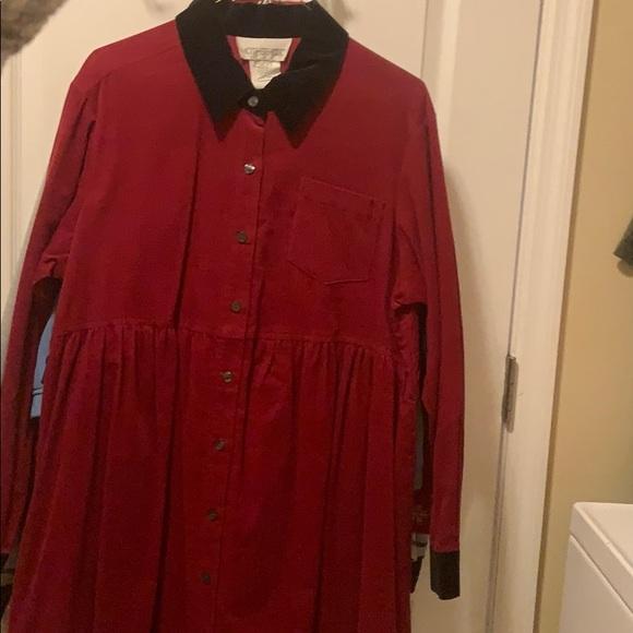 Motherhood Maternity red/black corduroy dress